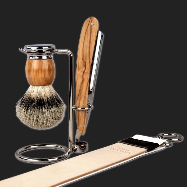 "razor set olive wood with 6/8"" blade"