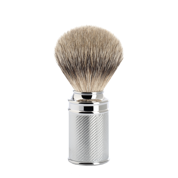 shaving brush from MÜHLE, badger hair brush, handle made of chrome-plated metal