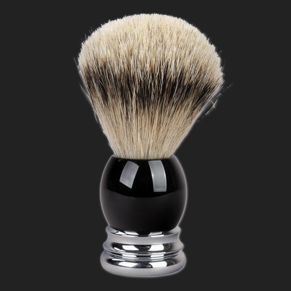 shaving brush silver tip badger, handle with black synthetic resin