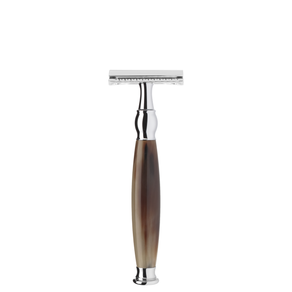 safety razor from MÜHLE, closed comb, handle material made of genuine horn