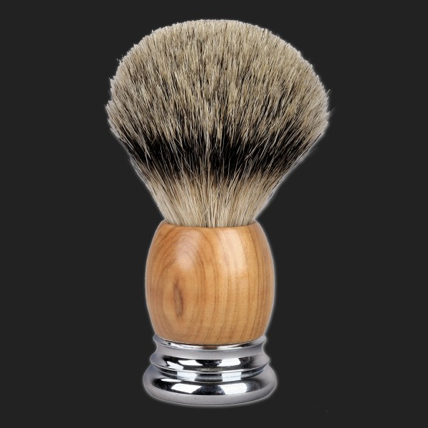 shaving brush silvertip badger, handle with olive wood