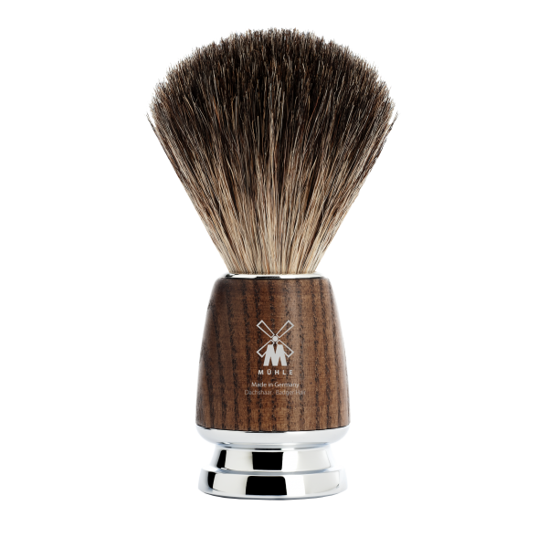 shaving brush from MÜHLE, pure badger hair brush, handle made of ash tree wood